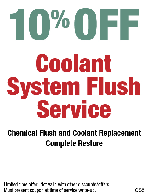10% OFF Coolant System Flush Service