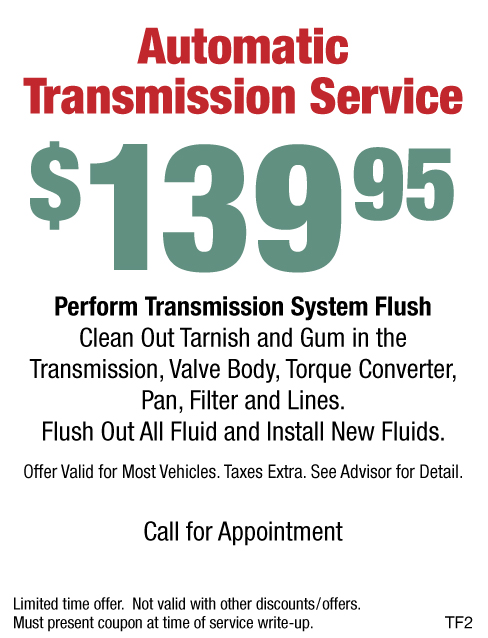 $139.95 Automatic Transmission Service