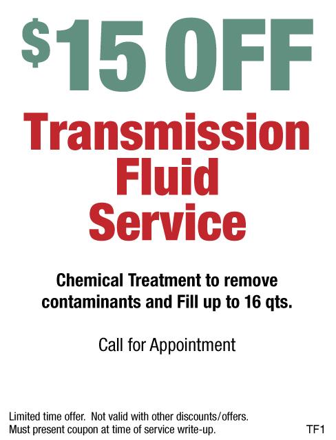 $15 Off Transmission Fluid Service