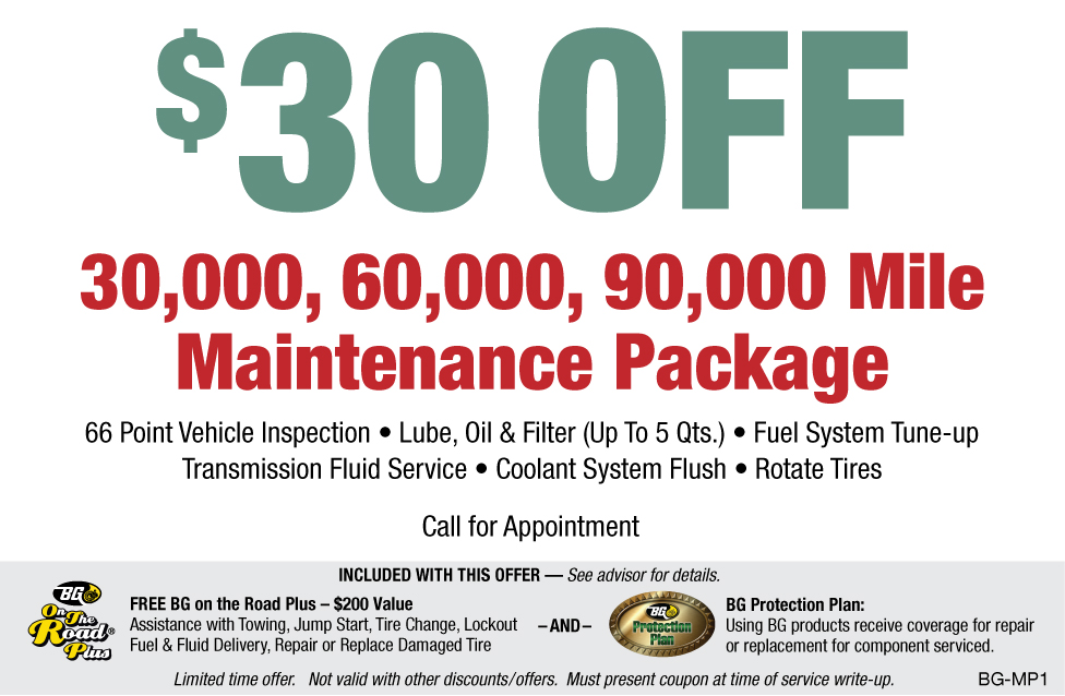 BG $30 OFF 30K/60K/90K Maintenance Pkg.