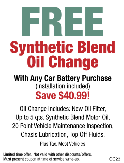 FREE Synthetic Blend Oil Change W/Car Battery Purchase