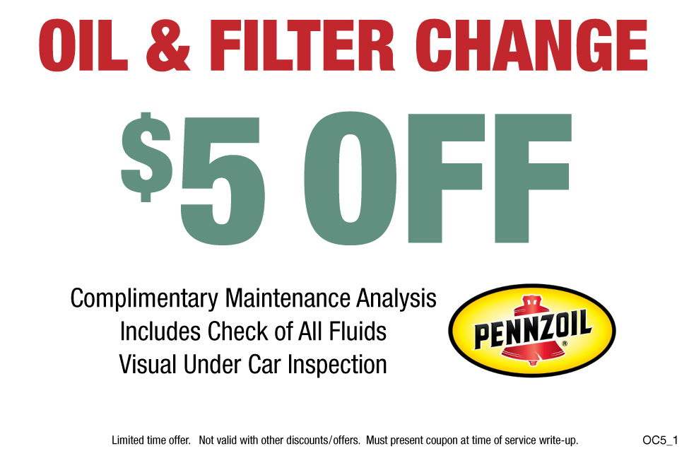 Pennzoil Oil Change & Filter $5 OFF