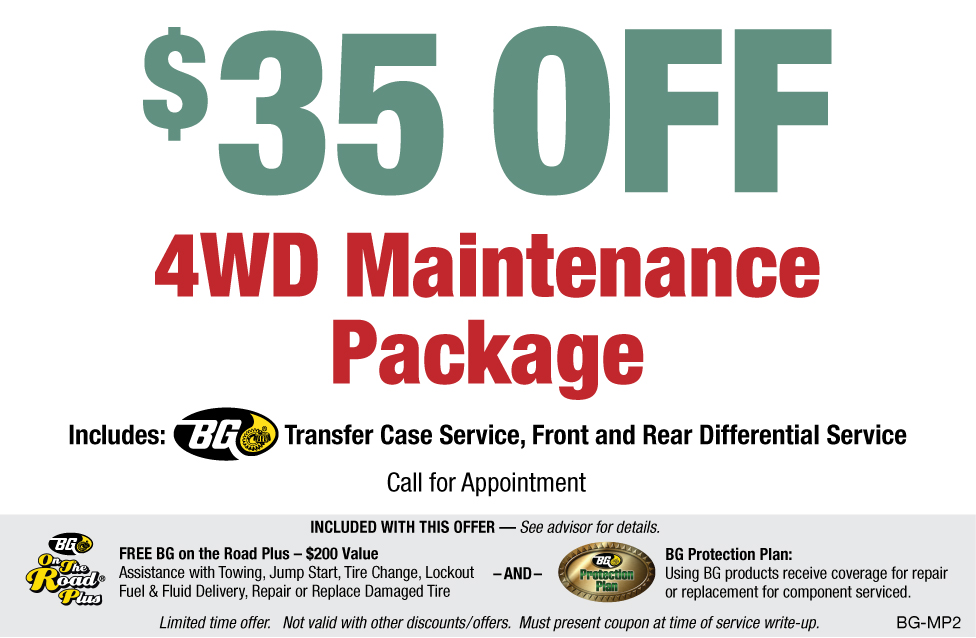 BG $35 OFF 4WD Maintenance Package