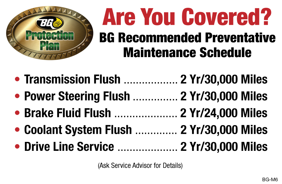 BG Preventative Maintenance Schedule