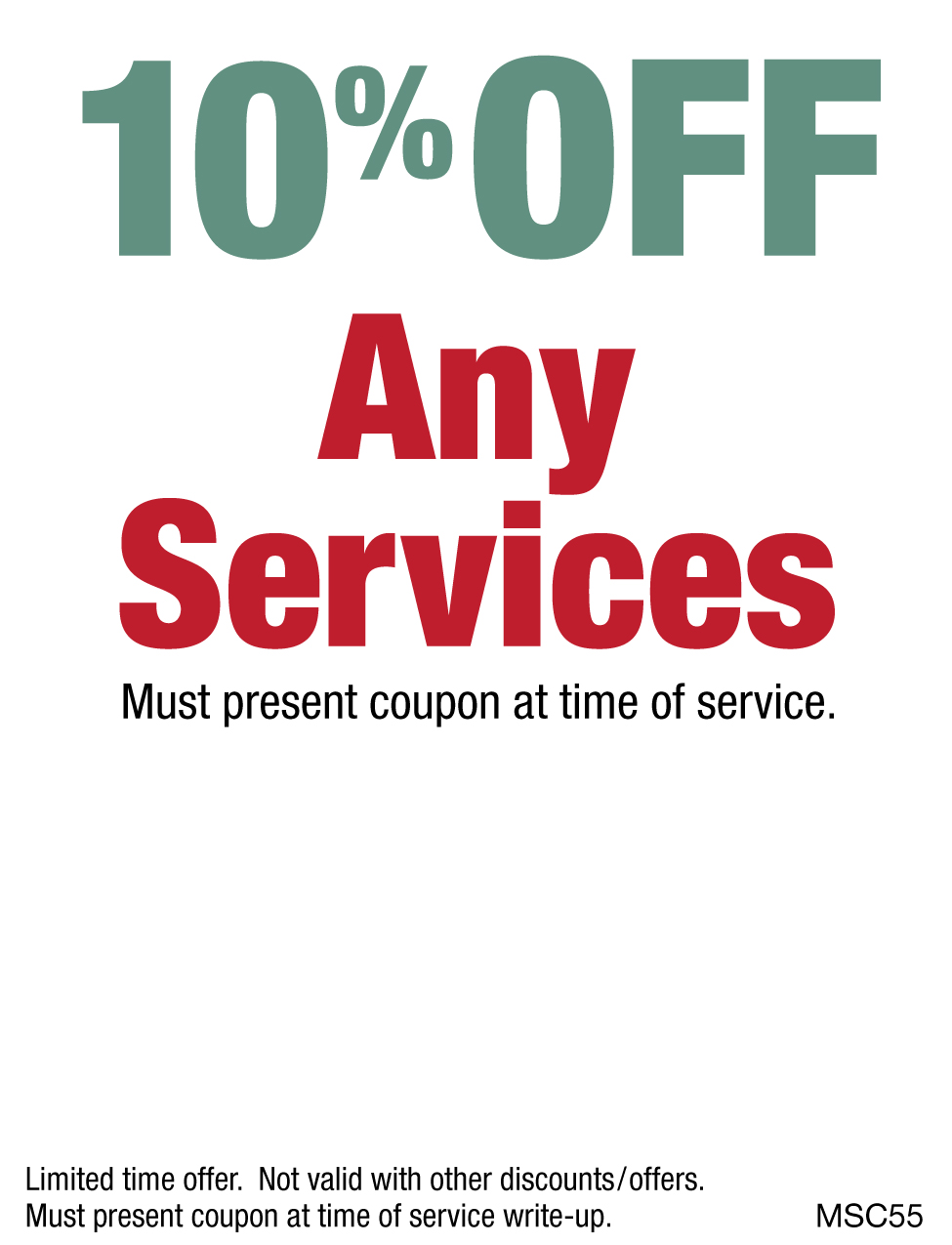 10% OFF Any Services