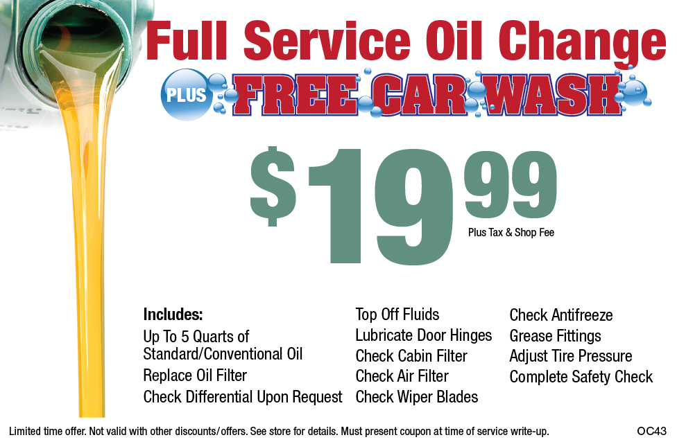 Full Service Oil Change W/Free Car Wash $19.99 +Shop Fee