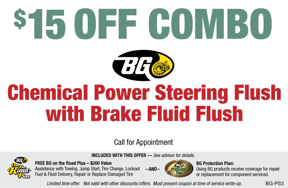 BG Power Steering & Brake Fluid Flush $15 OFF