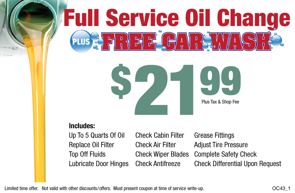 Full Service Oil Change $21.99 W/Free Car Wash +Shop Fee