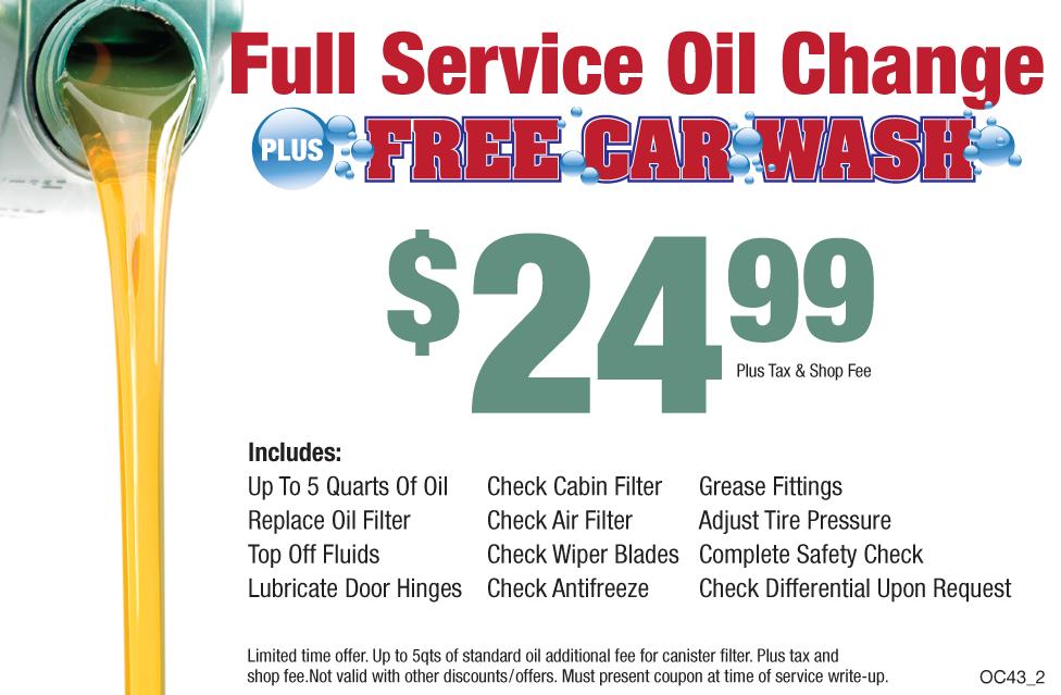 Full Service Oil Change +FREE Car Wash $24.99