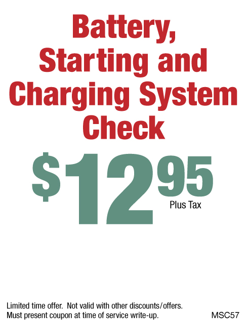 Battery, Starting & Charging System Check $12.95