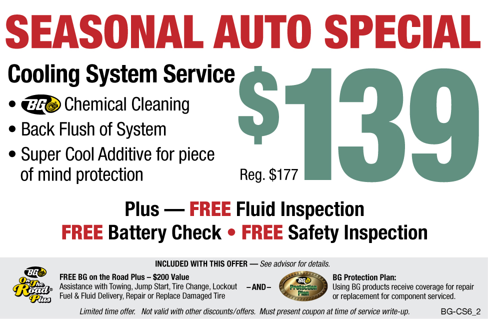 Seasonal Auto Special $139 BG Cooling System Flush