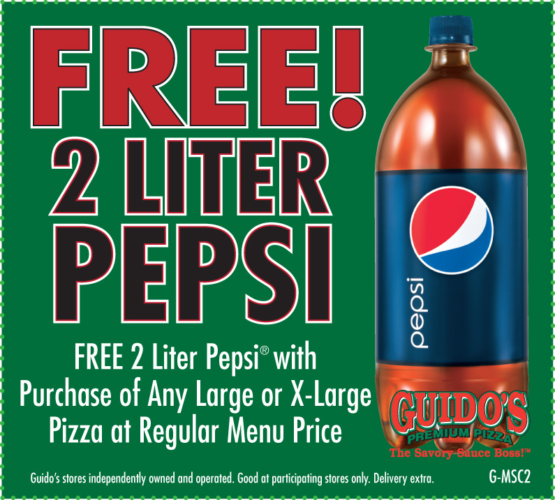 FREE 2 Liter Pepsi W/Purchase of Large or XL Pizza
