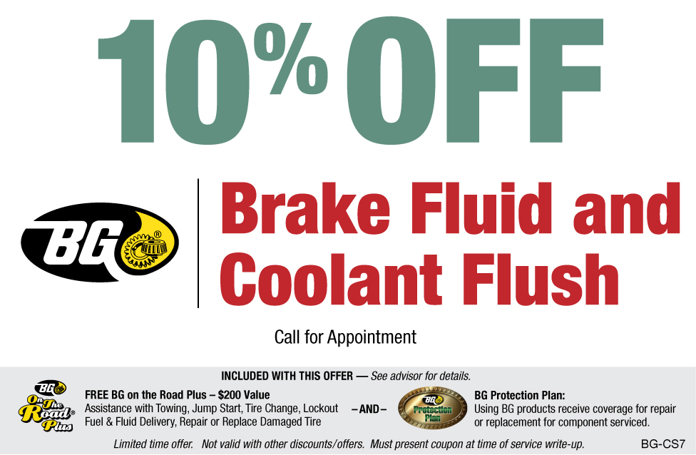 10% OFF BG Brake Fluid & Coolant Flush