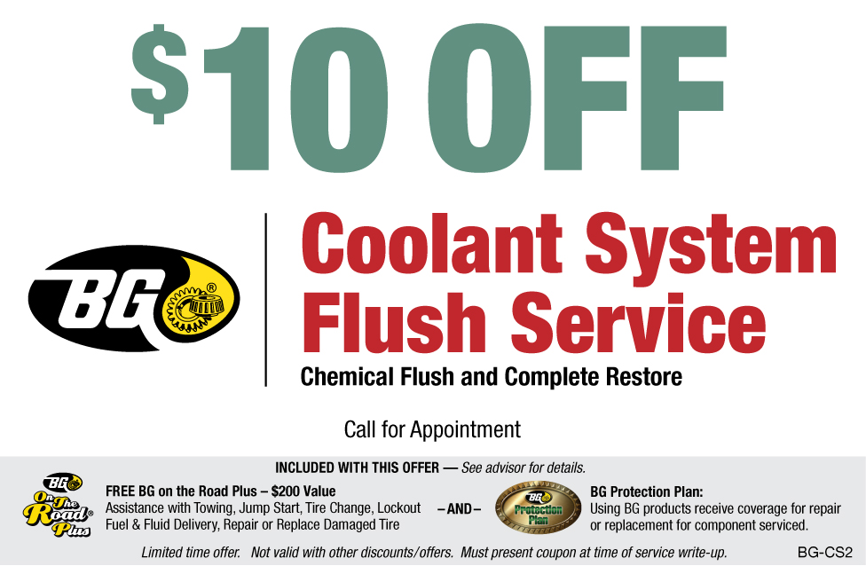 $10 OFF BG Coolant System Flush