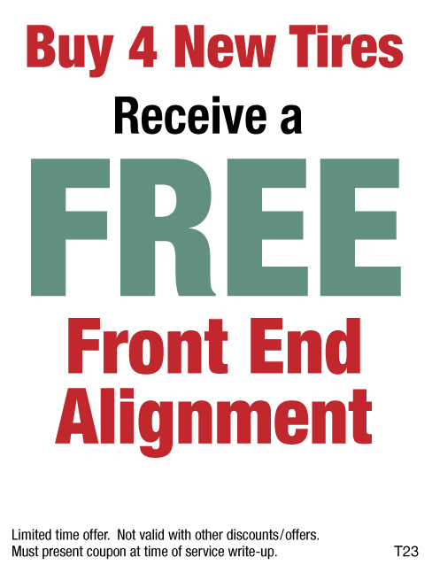 Buy 4 New Tires And Receive A FREE Front End Alignment