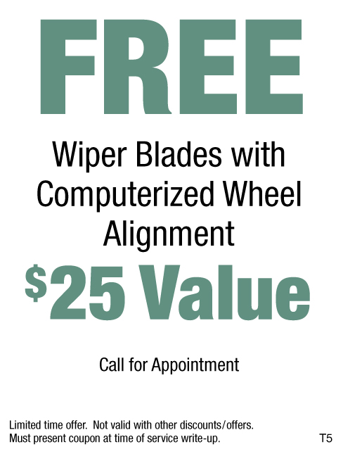 Free Wiper Blades With Computerized Wheel Alignment