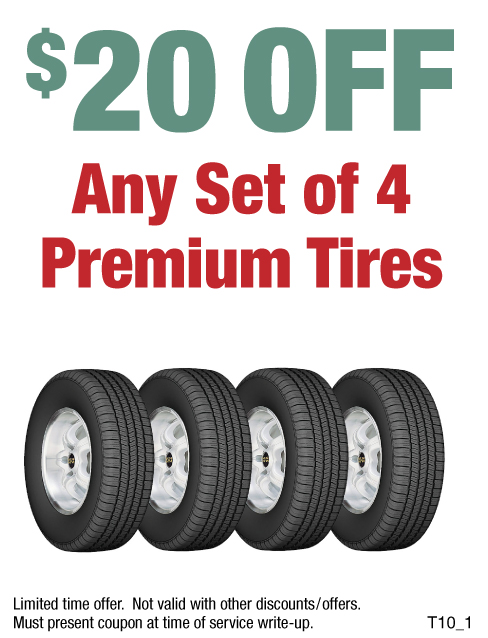 $20 Off A Set of 4 Premium Tires