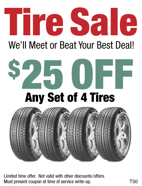 $25 Off Any Set of 4 Tires - Tire Sale