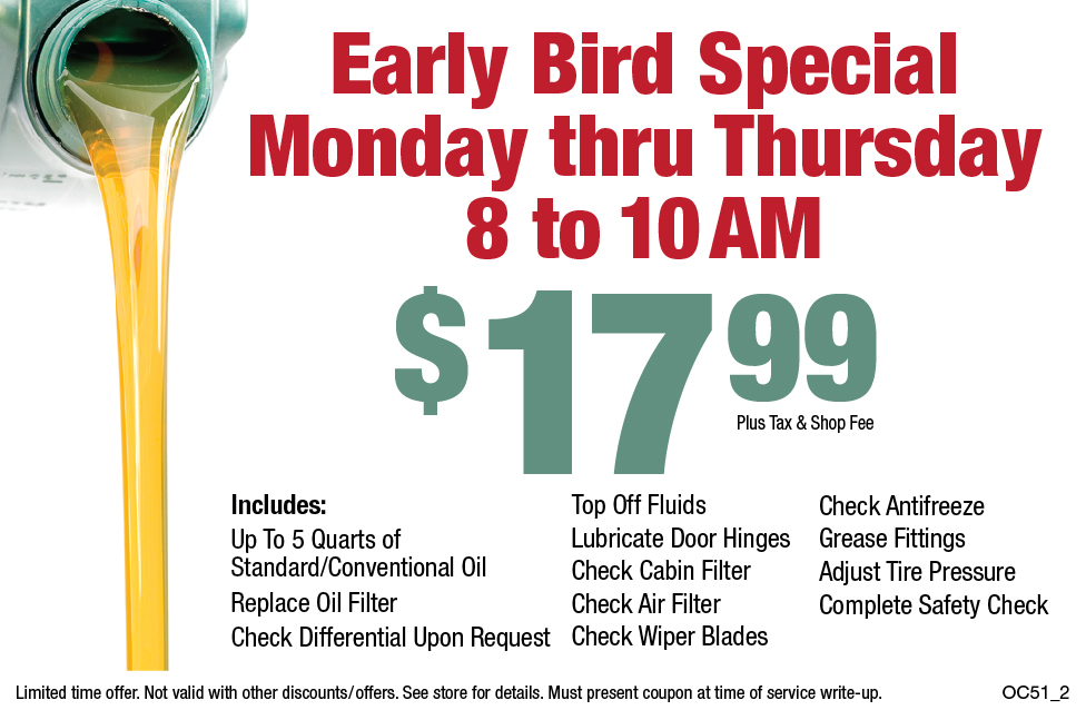 Early Bird Special $17.99