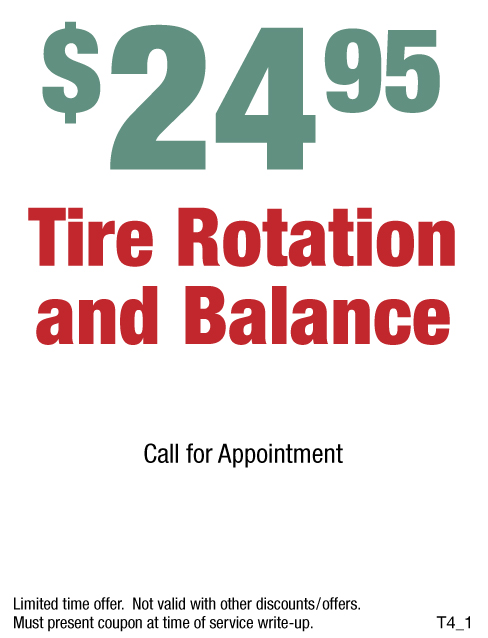 $24.95 Tire Rotation And Balance