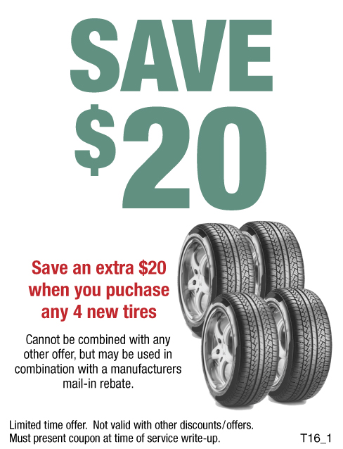 Save An Extra $20 When You Purchase Any 4 New Tires