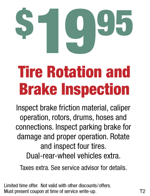 Tire Rotation And Brake Inspection $19.95