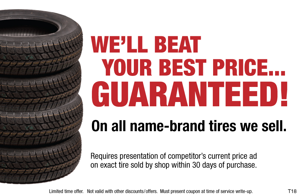 We'll Beat Your Best Price Guaranteed On All Name-Brand Tires