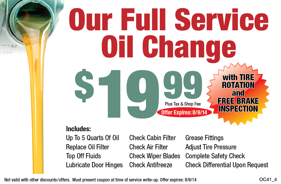 Our Full Service Oil Change $19.99