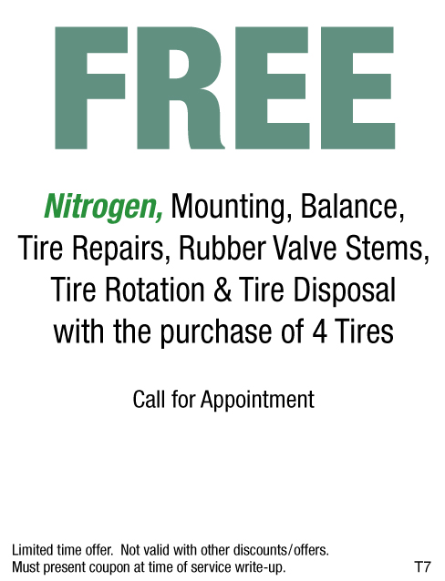 FREE Nitrogen Inflation W/Purchase of 4 New Tires