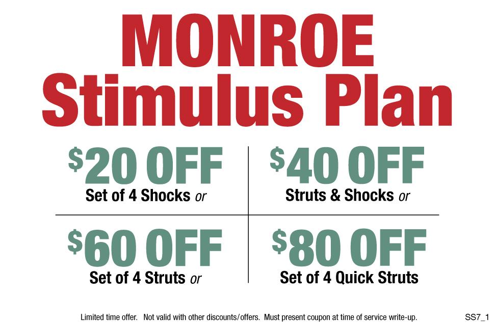 Monroe Stimulus Plan $20, $40, $60 or $80 Struts And Shocks
