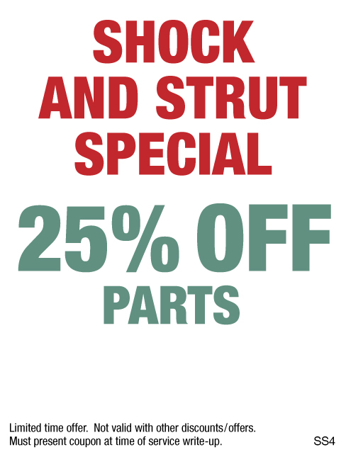 Shock And Strut Special, 25% Off Parts