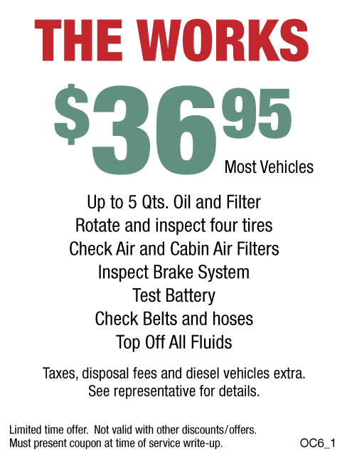 The Works Oil Change $36.95