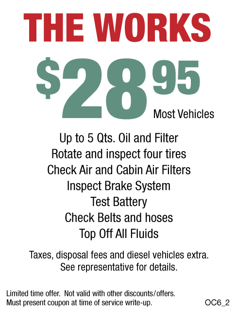 The Works Oil Change $28.95