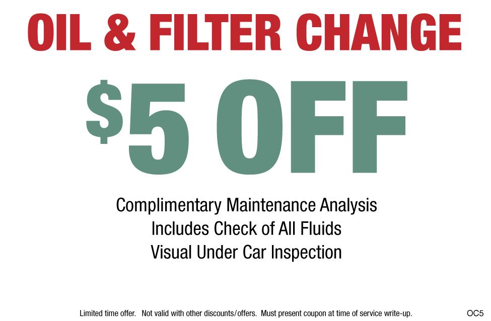 Oil Change & Filter $5 OFF