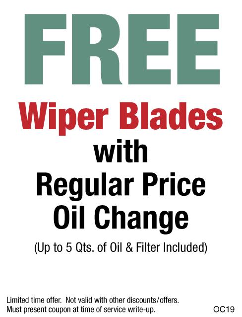 FREE Wiper Blades W/Purchase of Regular Price Oil Change
