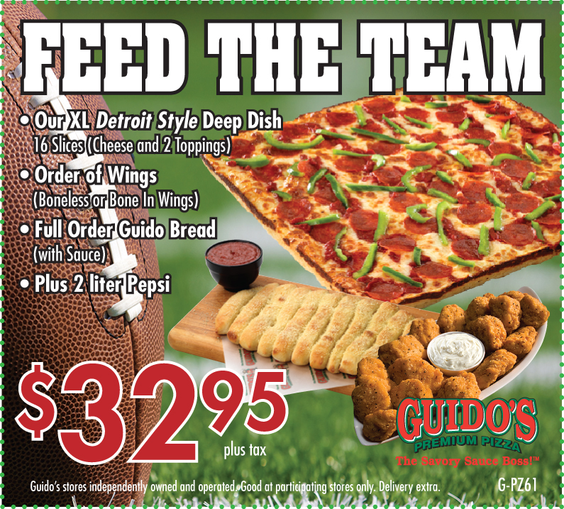 $32.95 FEED THE TEAM (Pizza, Wings, Bread & Pop)