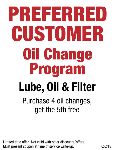 Preferred Customer Oil Change Buy 4 Get 5th FREE