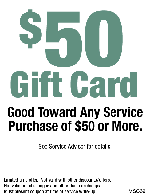 $50 Gift Card Towards Any Service Purchase of $50 or More