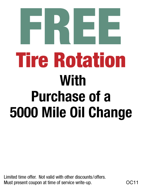 FREE Tire Rotation W/Purchase Of 5K Oil Change
