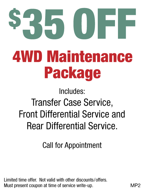 $35 OFF 4WD Maintenance Package W/Appt.