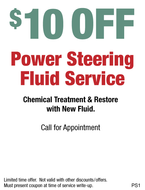 $10 OFF Power Steering Fluid Service