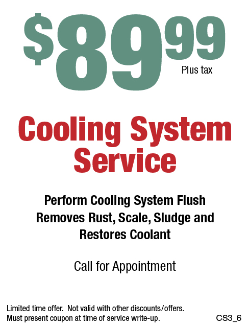 $89.99 Cooling System Service