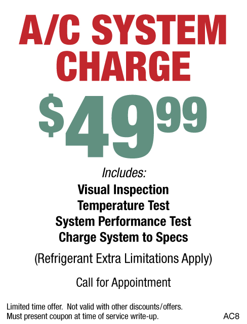 A/C System Charge $49.99