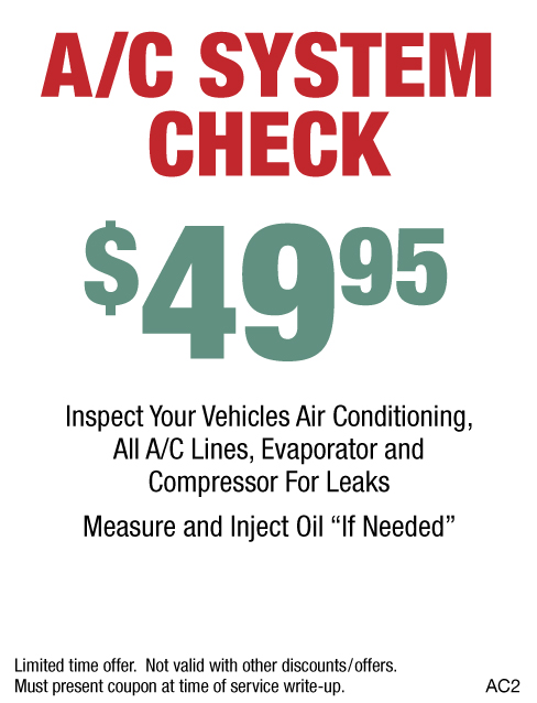 A/C System Check $49.95
