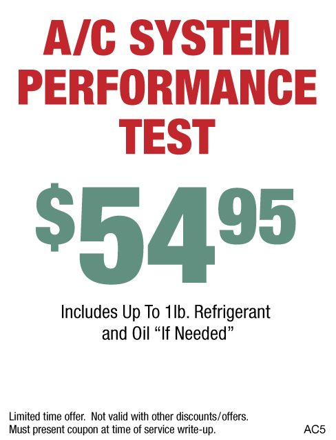 A/C System Performance Test $54.95
