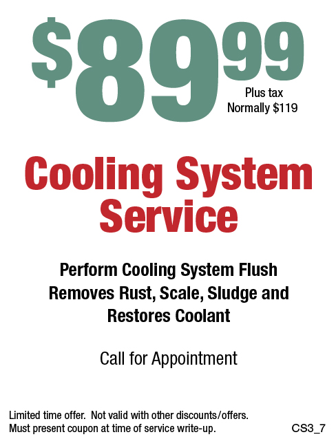 $89.99 Cooling System Service (Normally $119)