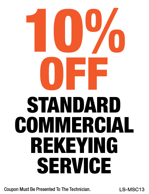 10% OFF Standard Commercial Rekeying Service