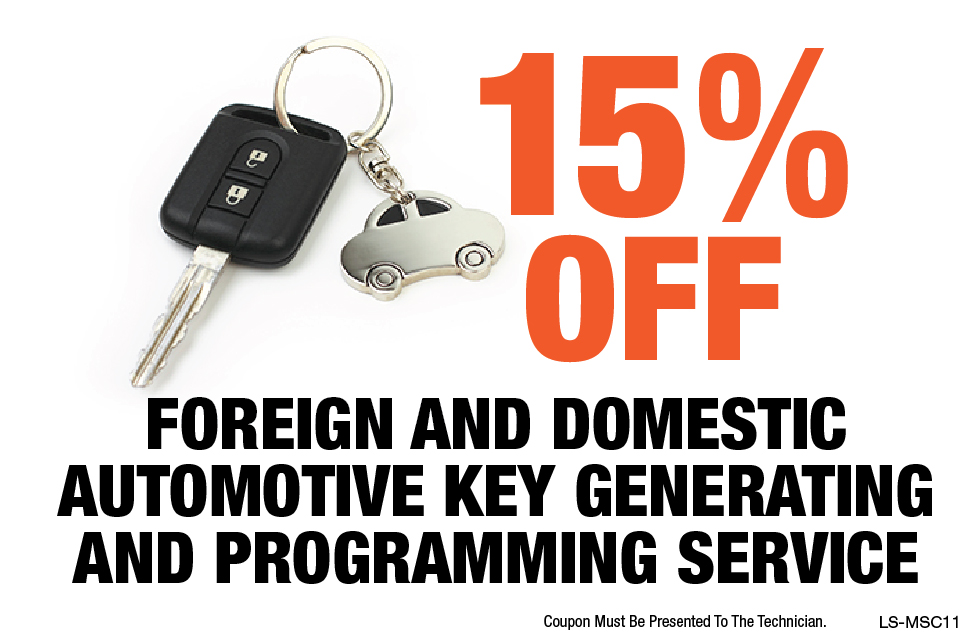15% OFF Foreign & Domestic Automotive Key Generating & Programming