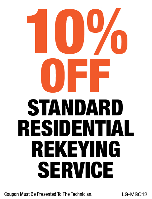 10% OFF Standard Residential Rekeying Service