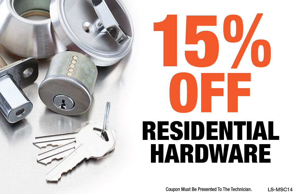 15% OFF Residential Hardware